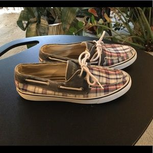 SPERRY TOP-SIDER PLAID SHOES SZ 9